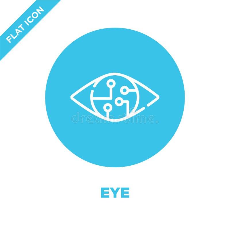de vector van het oogpictogram van slimme huisinzameling De dunne van het het overzichtspictogram van het lijnoog vectorillustrat royalty-vrije illustratie