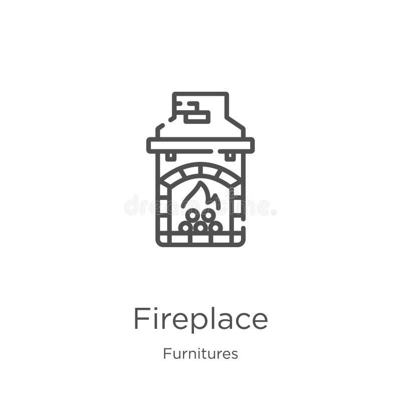 de vector van het open haardpictogram van furnituresinzameling De dunne van het het overzichtspictogram van de lijnopen haard vec royalty-vrije illustratie