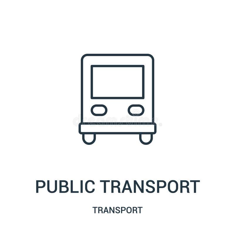 de vector van het openbaar vervoerpictogram van vervoerinzameling De dunne van het het overzichtspictogram van het lijn openbare  stock illustratie