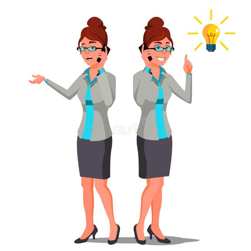 De Vector van het oplossingsconcept Bedrijfs vrouw - 2 Conceptueel Probleem Geheime Ontdekking Succesvolle lancering van opstarte royalty-vrije illustratie