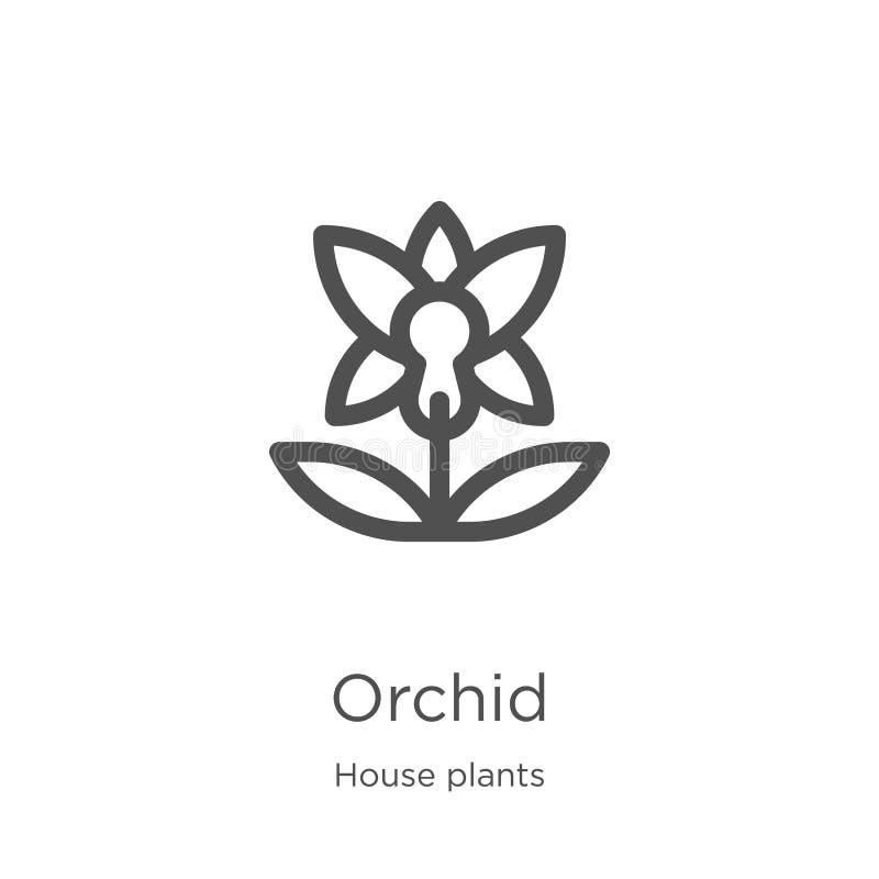 de vector van het orchideepictogram van de inzameling van huisinstallaties De dunne van het het overzichtspictogram van de lijnor stock illustratie