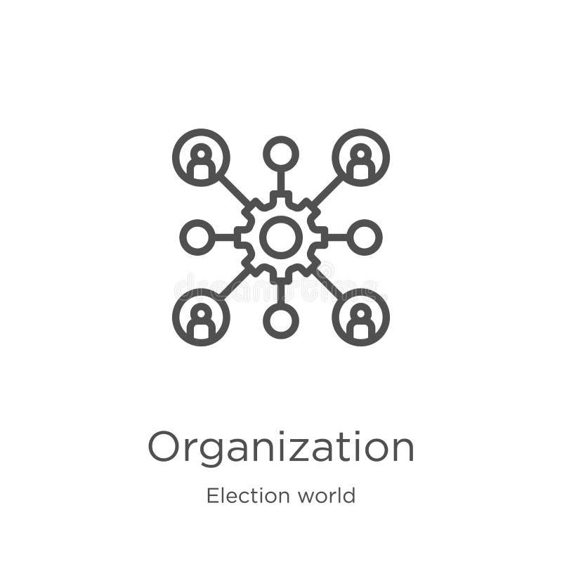 de vector van het organisatiepictogram van de inzameling van de verkiezingswereld De dunne van het het overzichtspictogram van de stock illustratie