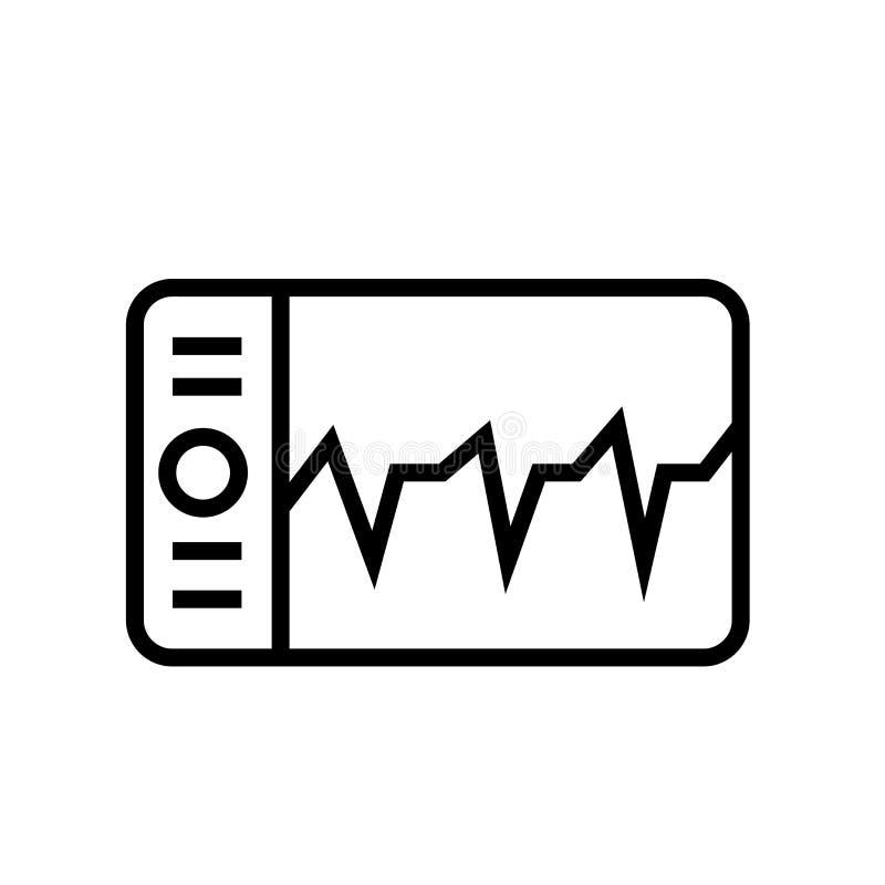 De vector van het oscilloscooppictogram op witte achtergrond, Oscilloscoopteken, de lineaire symbool en elementen van het slagont vector illustratie