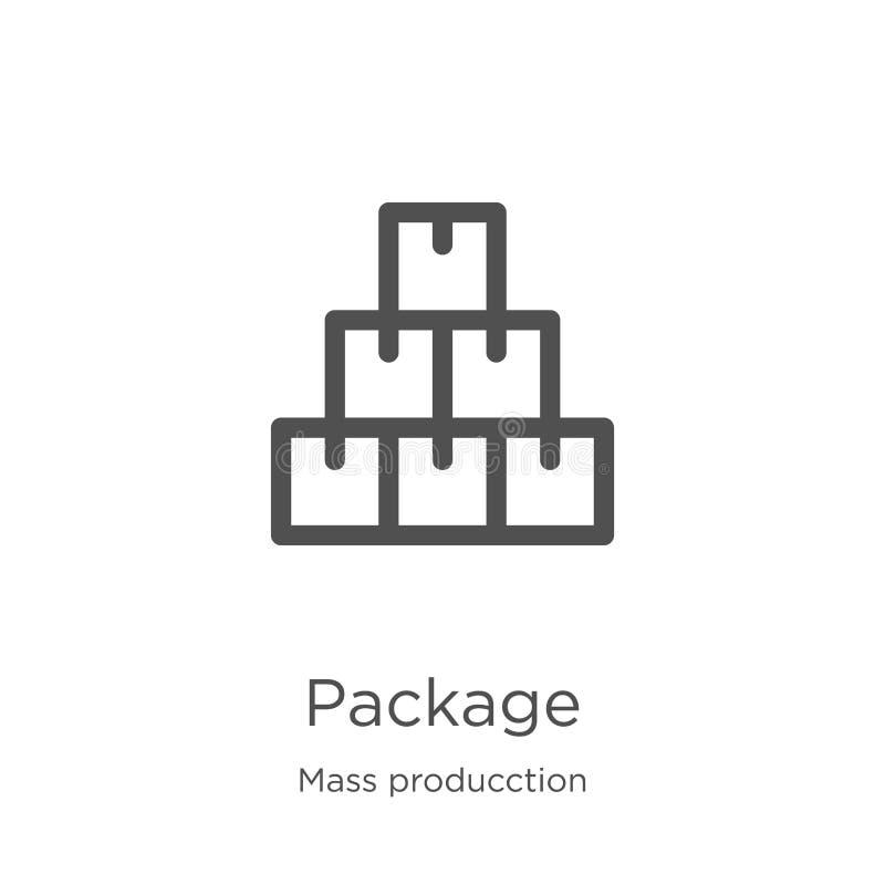 de vector van het pakketpictogram van de inzameling van massaproducction De dunne van het het overzichtspictogram van het lijnpak stock illustratie