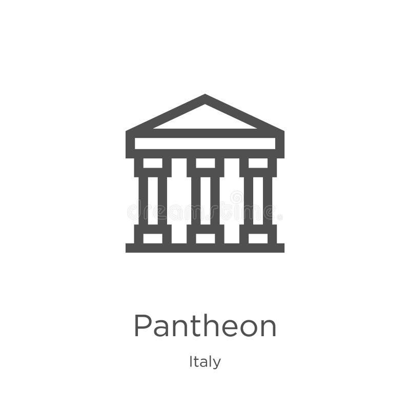 De vector van het pantheonpictogram van de inzameling van Italië De dunne van het het overzichtspictogram van het lijnpantheon ve vector illustratie