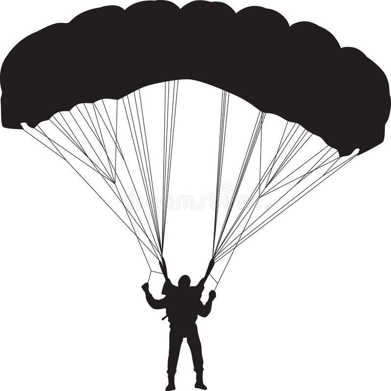 De vector van het parachutistsilhouet vector illustratie