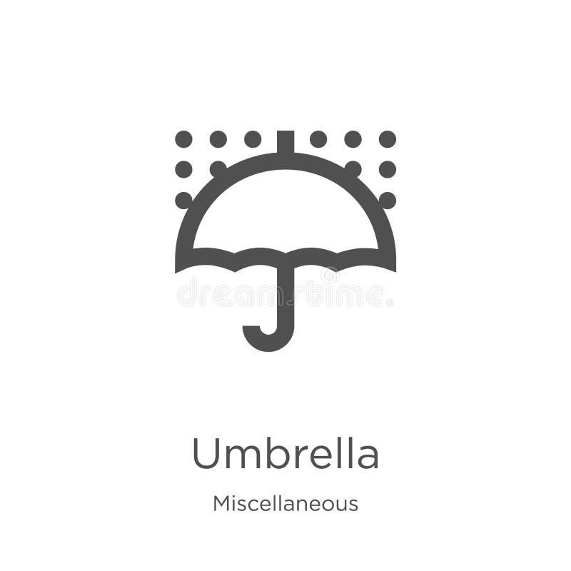 de vector van het paraplupictogram van diverse inzameling De dunne van het het overzichtspictogram van de lijnparaplu vectorillus vector illustratie