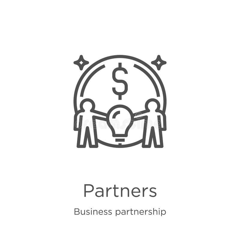 de vector van het partnerspictogram van bedrijfsvennootschapinzameling De dunne van het het overzichtspictogram van lijnpartners  royalty-vrije illustratie