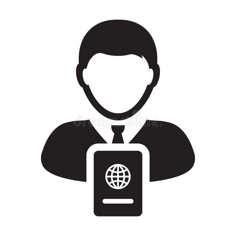 De Vector van het paspoortpictogram met Mannelijk Person Profile Avatar voor Internationale Identiteit en Reis in Glyph-het Symbo vector illustratie