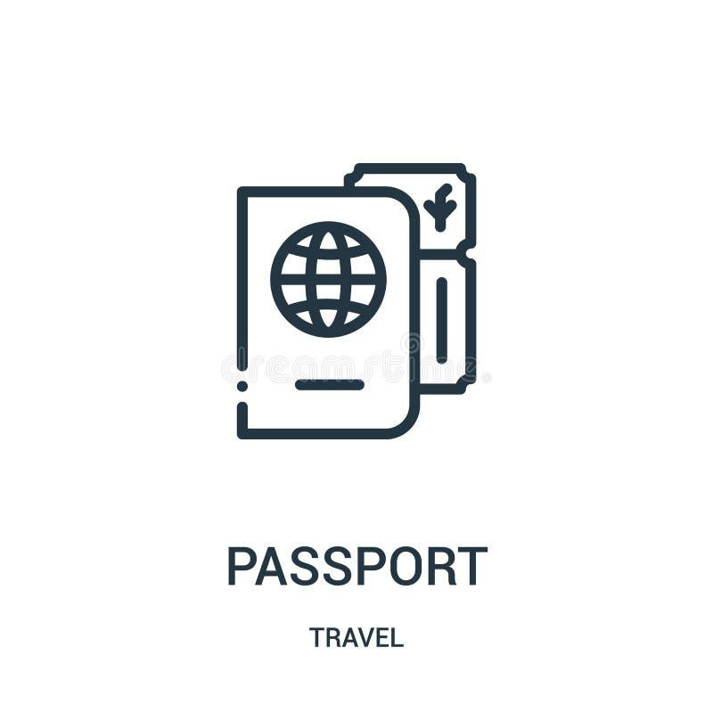 de vector van het paspoortpictogram van reisinzameling De dunne van het het overzichtspictogram van het lijnpaspoort vectorillust royalty-vrije illustratie