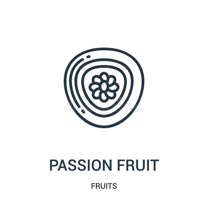 de vector van het passievruchtpictogram van vruchten inzameling De dunne van het het overzichtspictogram van de lijnpassievrucht  stock illustratie
