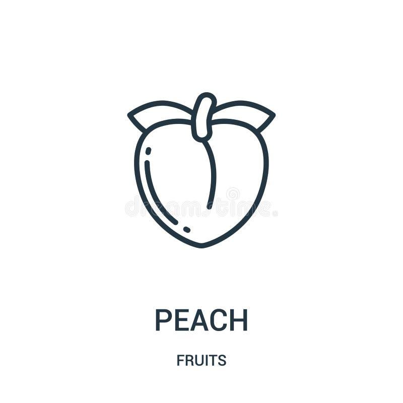 de vector van het perzikpictogram van vruchten inzameling De dunne van het het overzichtspictogram van de lijnperzik vectorillust stock illustratie