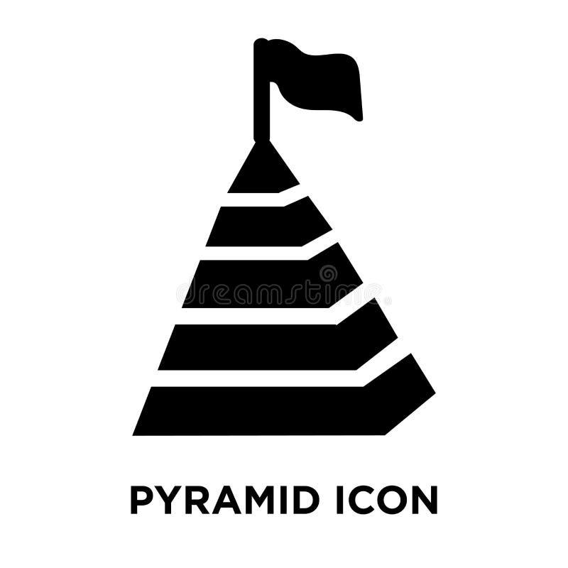 De vector van het piramidepictogram op witte achtergrond, embleemconcept o wordt geïsoleerd dat stock illustratie