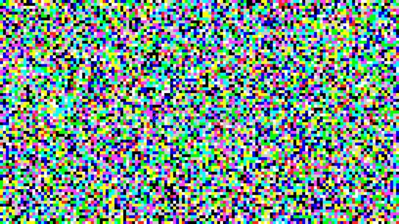 De Vector van het pixellawaai VHS-Glitch het Scherm van Textuurtv Inleiding en het Eind van de TV-Programmering royalty-vrije illustratie