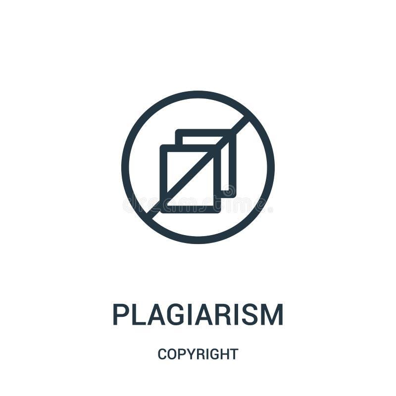 de vector van het plagiaatpictogram van auteursrechtinzameling De dunne van het het overzichtspictogram van het lijnplagiaat vect vector illustratie