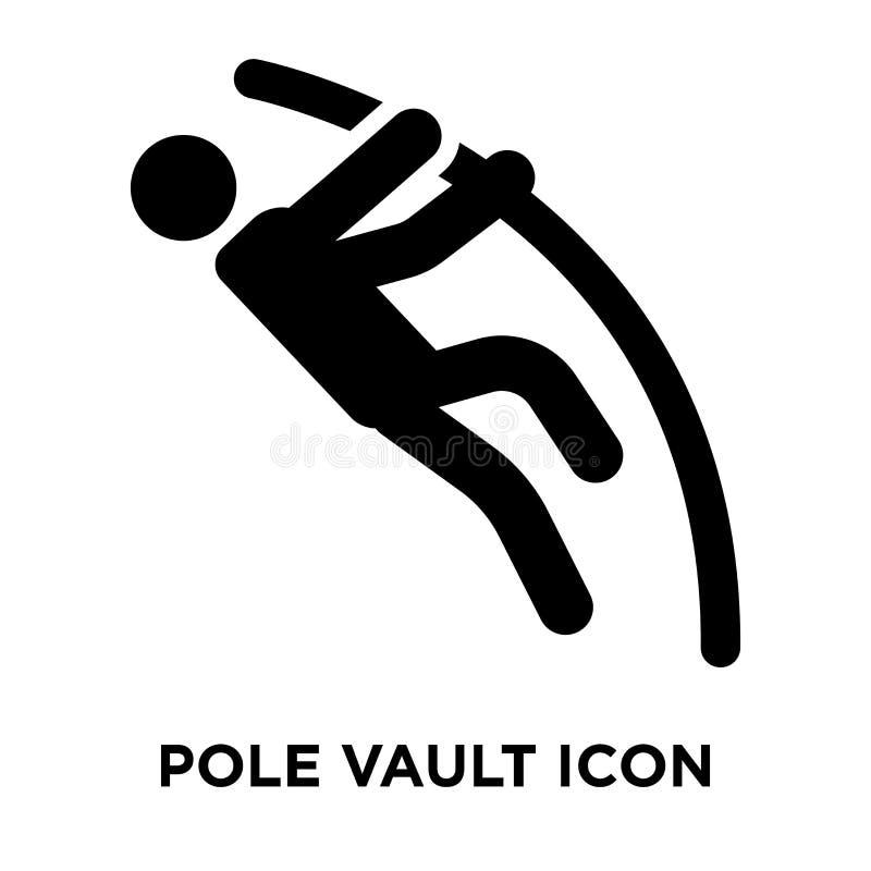 De vector van het polsstokspringenpictogram op witte achtergrond, embleem wordt geïsoleerd dat concep stock illustratie