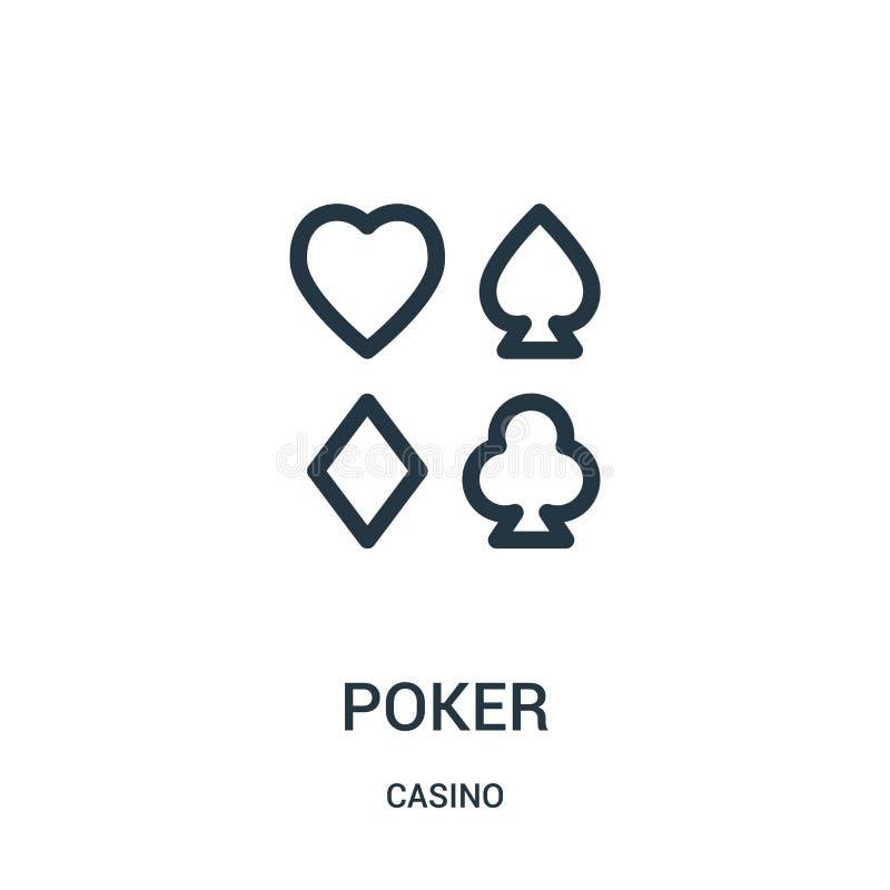 de vector van het pookpictogram van casinoinzameling De dunne van het het overzichtspictogram van de lijnpook vectorillustratie stock illustratie
