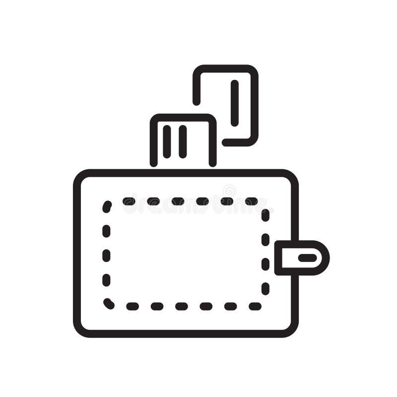 De vector van het portefeuillepictogram op witte achtergrond, Portefeuilleteken, de lineaire symbool en elementen van het slagont vector illustratie