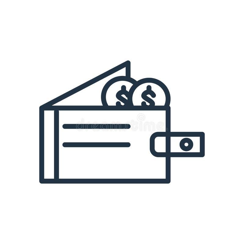 De vector van het portefeuillepictogram op witte achtergrond, Portefeuilleteken wordt geïsoleerd dat vector illustratie