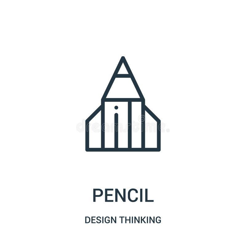 de vector van het potloodpictogram van ontwerp het denken inzameling De dunne van het het overzichtspictogram van het lijnpotlood stock illustratie