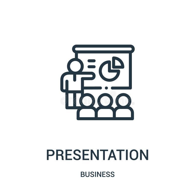 de vector van het presentatiepictogram van bedrijfsinzameling De dunne van het het overzichtspictogram van de lijnpresentatie vec royalty-vrije illustratie