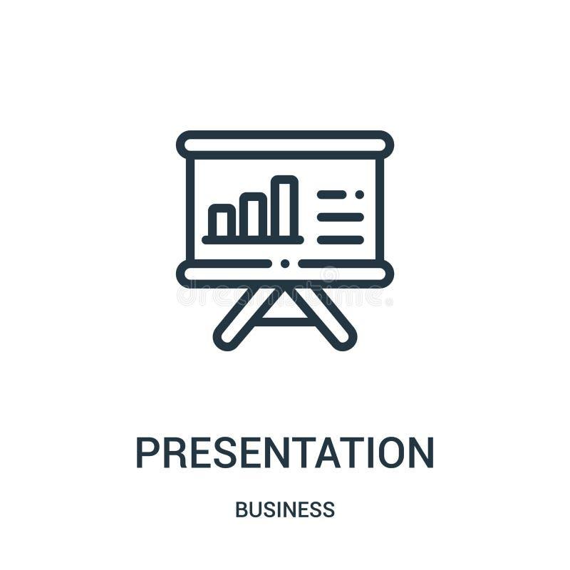 de vector van het presentatiepictogram van bedrijfsinzameling De dunne van het het overzichtspictogram van de lijnpresentatie vec stock illustratie