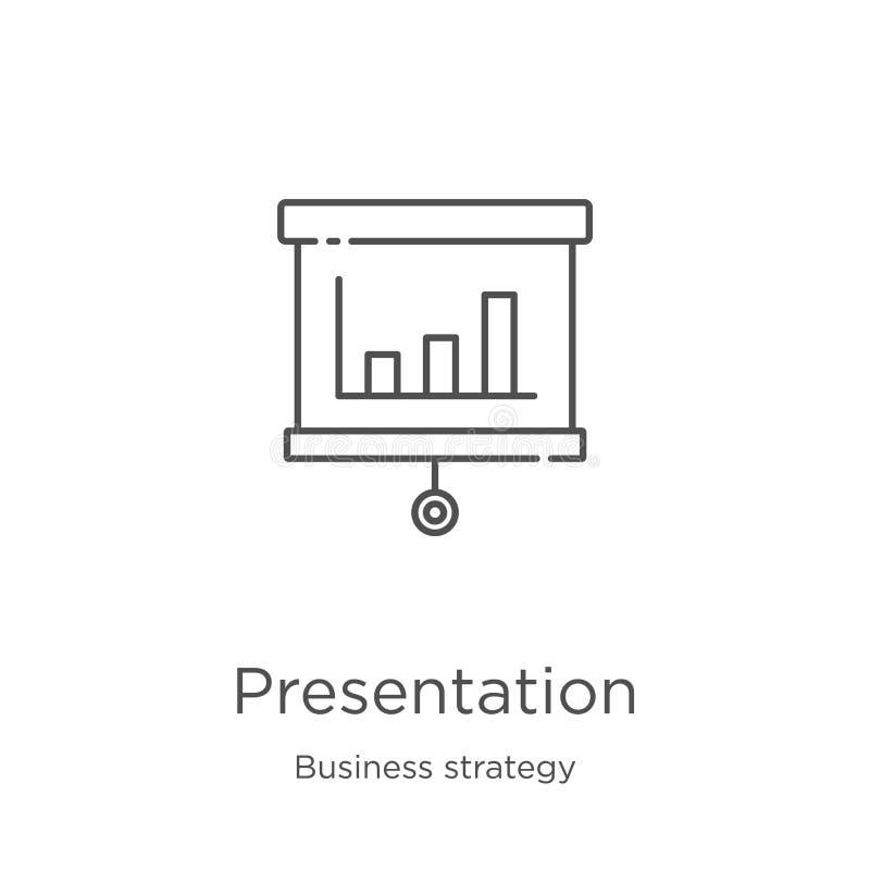 de vector van het presentatiepictogram van bedrijfsstrategieinzameling De dunne van het het overzichtspictogram van de lijnpresen royalty-vrije illustratie