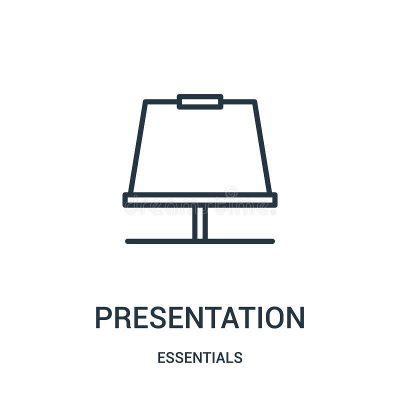 de vector van het presentatiepictogram van hoofdzaakinzameling De dunne van het het overzichtspictogram van de lijnpresentatie ve stock illustratie