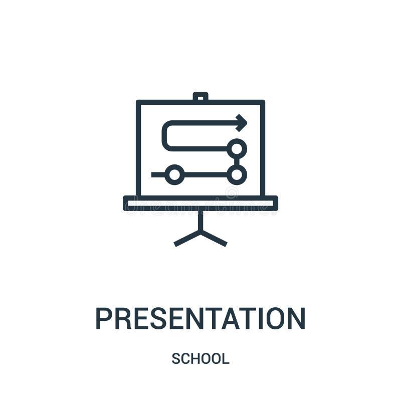 de vector van het presentatiepictogram van schoolinzameling De dunne van het het overzichtspictogram van de lijnpresentatie vecto royalty-vrije illustratie