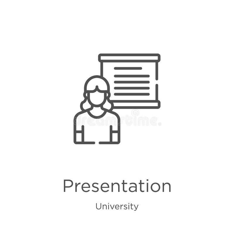 de vector van het presentatiepictogram van universitaire inzameling De dunne van het het overzichtspictogram van de lijnpresentat royalty-vrije illustratie