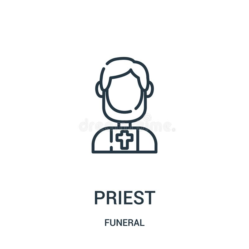 de vector van het priesterpictogram van begrafenisinzameling De dunne van het het overzichtspictogram van de lijnpriester vectori royalty-vrije illustratie