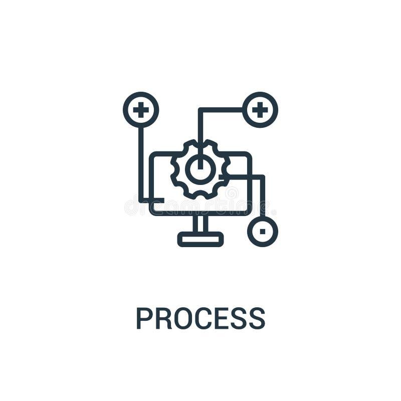 de vector van het procespictogram van seoinzameling De dunne van het het overzichtspictogram van het lijnproces vectorillustratie royalty-vrije illustratie
