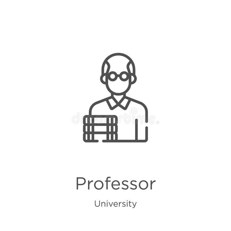 de vector van het professorspictogram van universitaire inzameling De dunne van het het overzichtspictogram van de lijnprofessor  vector illustratie