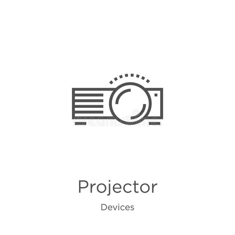 de vector van het projectorpictogram van apparateninzameling De dunne van het het overzichtspictogram van de lijnprojector vector royalty-vrije illustratie