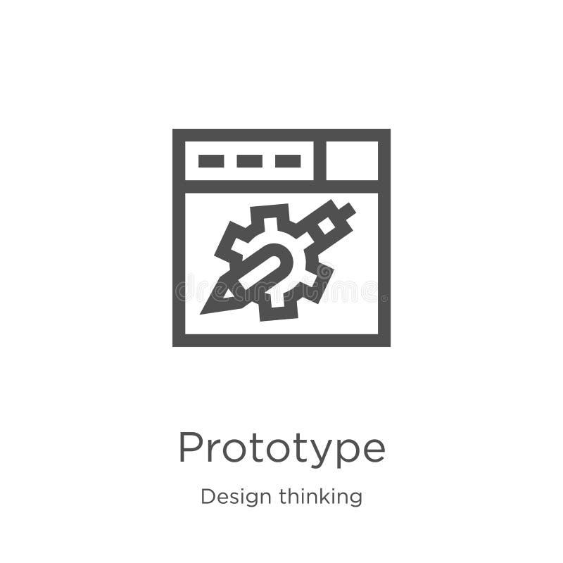 de vector van het prototypepictogram van ontwerp het denken inzameling De dunne van het het overzichtspictogram van het lijnproto stock illustratie