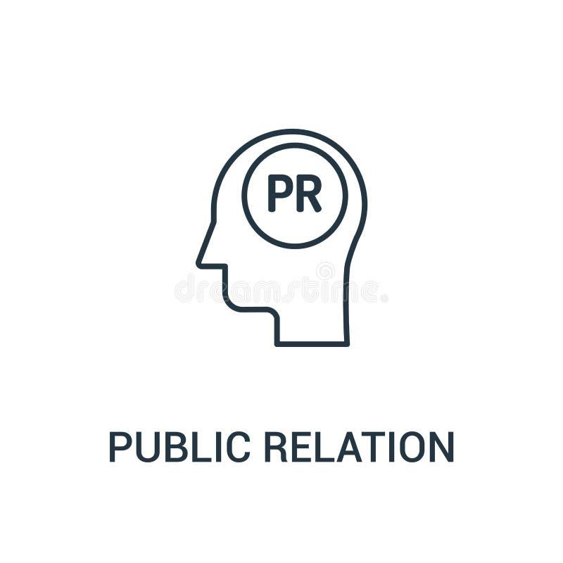 de vector van het public relationspictogram van advertentiesinzameling De dunne van het het overzichtspictogram van lijn public r stock illustratie