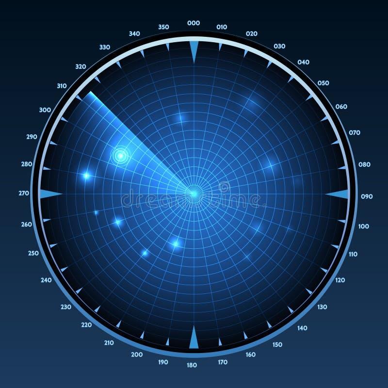 De vector van het radarscherm royalty-vrije illustratie
