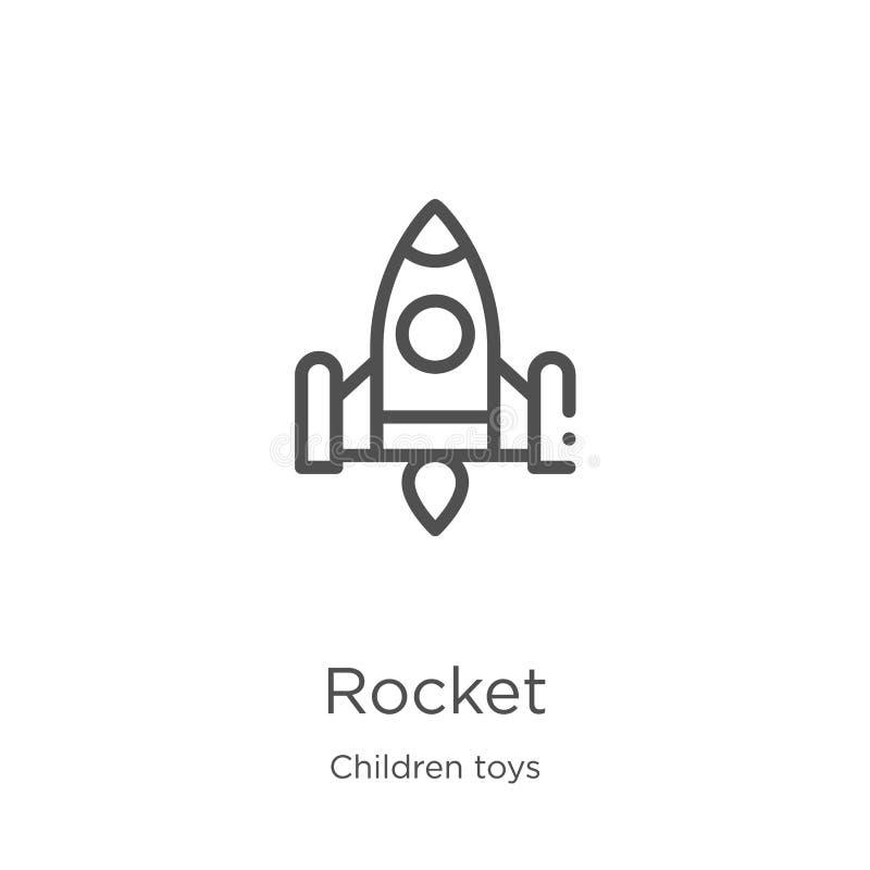 de vector van het raketpictogram van de inzameling van het kinderenspeelgoed De dunne van het het overzichtspictogram van de lijn royalty-vrije illustratie