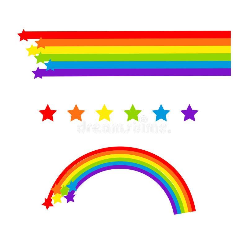 De vector van het regenboogbeeldverhaal op wit wordt geïsoleerd dat Kleurrijke sterren en strepen vector illustratie