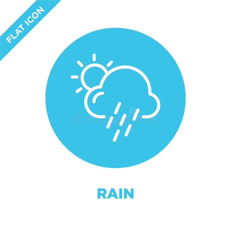de vector van het regenpictogram van weerinzameling De dunne van het het overzichtspictogram van de lijnregen vectorillustratie L vector illustratie