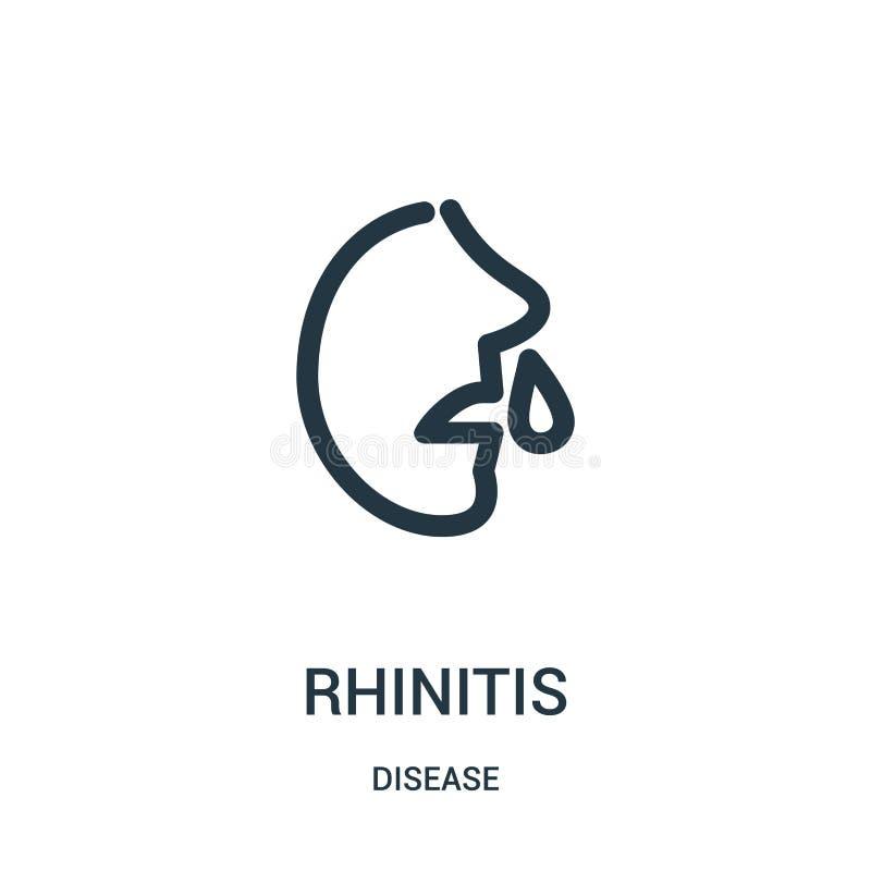 de vector van het Rhinitispictogram van ziekteinzameling De dunne van het het overzichtspictogram van het lijnrhinitis vectorillu royalty-vrije illustratie