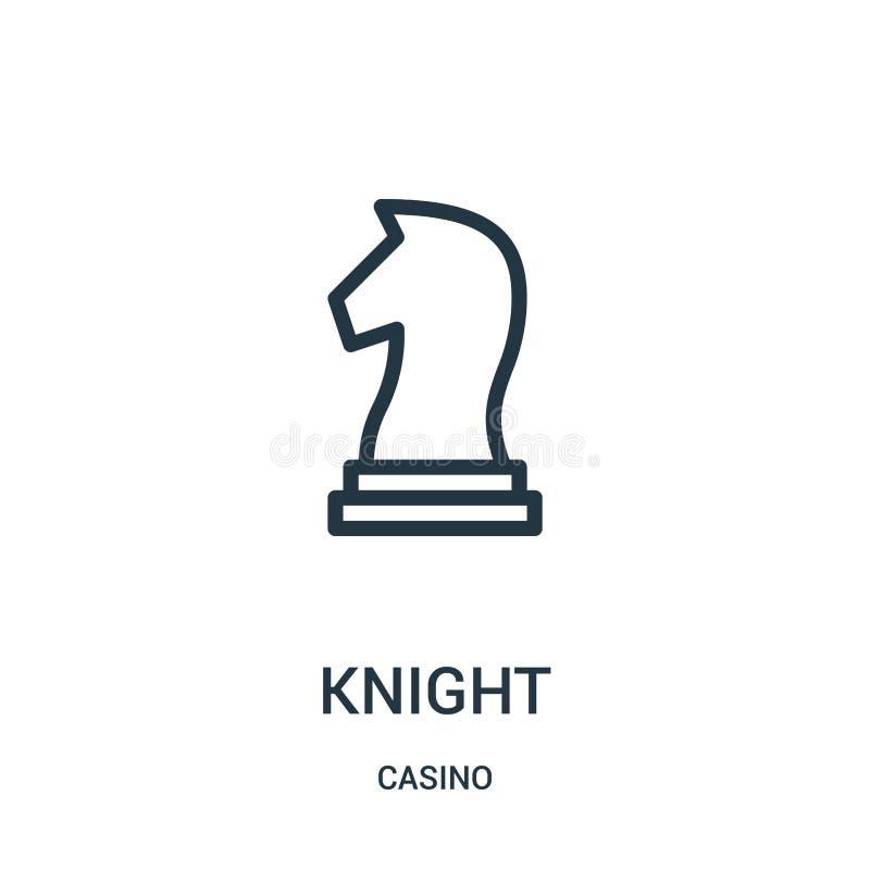 de vector van het ridderpictogram van casinoinzameling De dunne van het het overzichtspictogram van de lijnridder vectorillustrat royalty-vrije illustratie