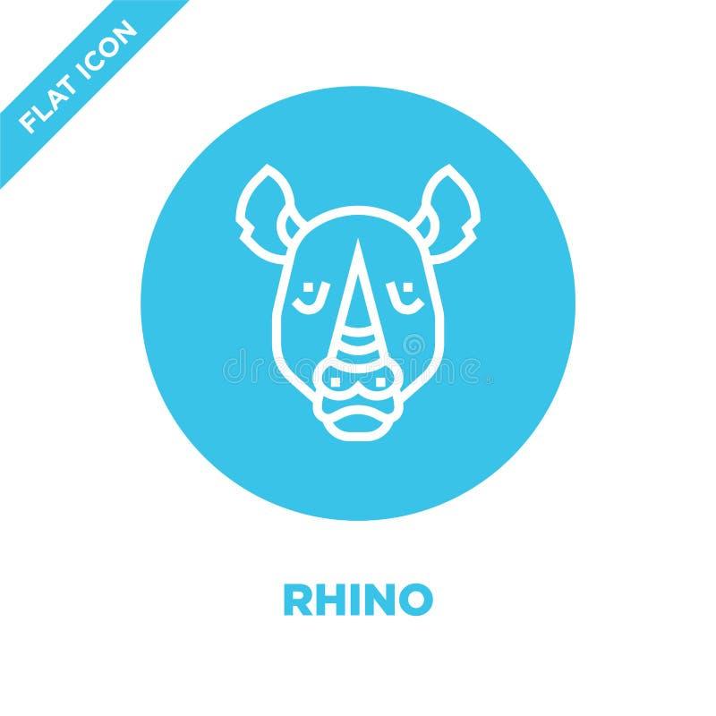 de vector van het rinocerospictogram van dierlijke hoofdinzameling De dunne van het het overzichtspictogram van de lijnrinoceros  stock illustratie