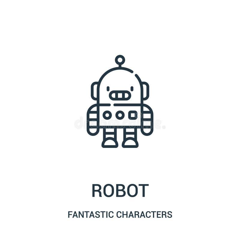 de vector van het robotpictogram van fantastische karaktersinzameling De dunne van het het overzichtspictogram van de lijnrobot v vector illustratie