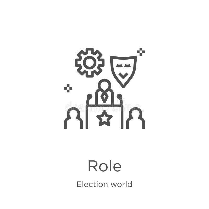 de vector van het rolpictogram van de inzameling van de verkiezingswereld De dunne van het het overzichtspictogram van de lijnrol stock illustratie