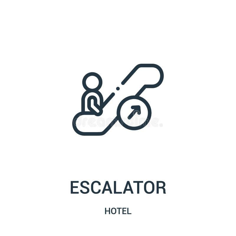 de vector van het roltrappictogram van hotelinzameling De dunne van het het overzichtspictogram van de lijnroltrap vectorillustra stock illustratie