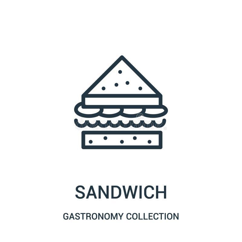 de vector van het sandwichpictogram van de inzameling van de gastronomieinzameling De dunne van het het overzichtspictogram van d vector illustratie
