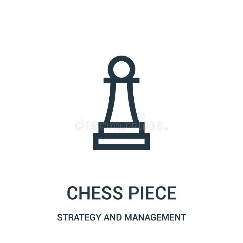 de vector van het schaakstukpictogram van strategie en beheersinzameling De dunne van het het overzichtspictogram van het lijnsch vector illustratie