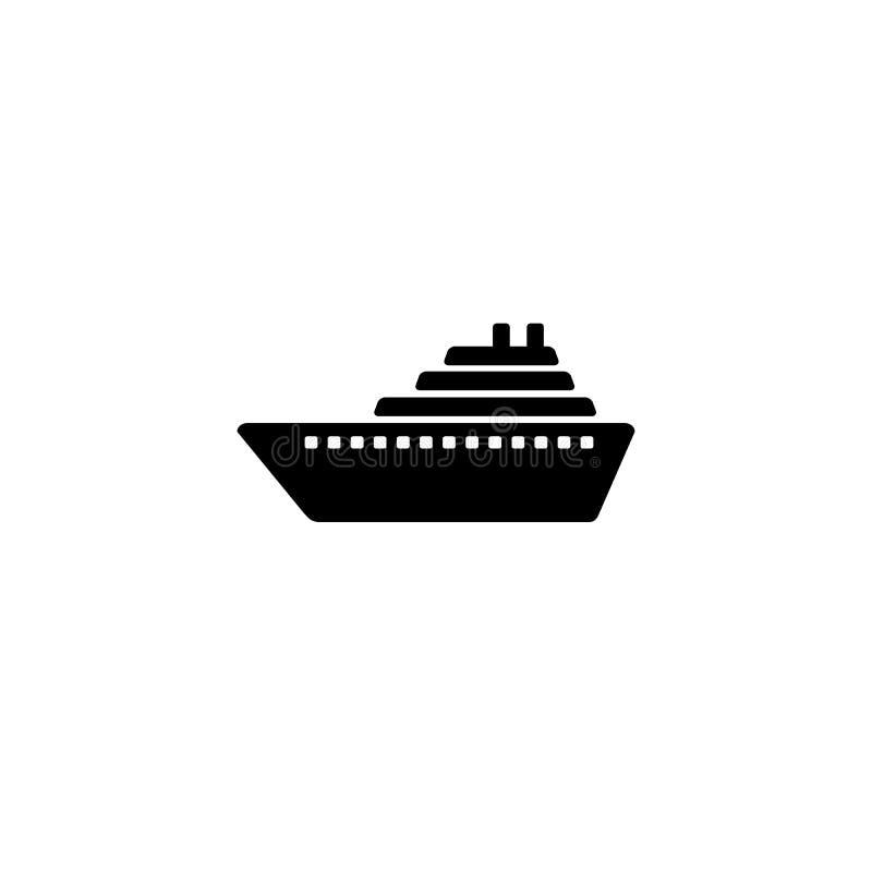 De vector van het schippictogram Het symboolpictogram van het cruiseschip royalty-vrije illustratie