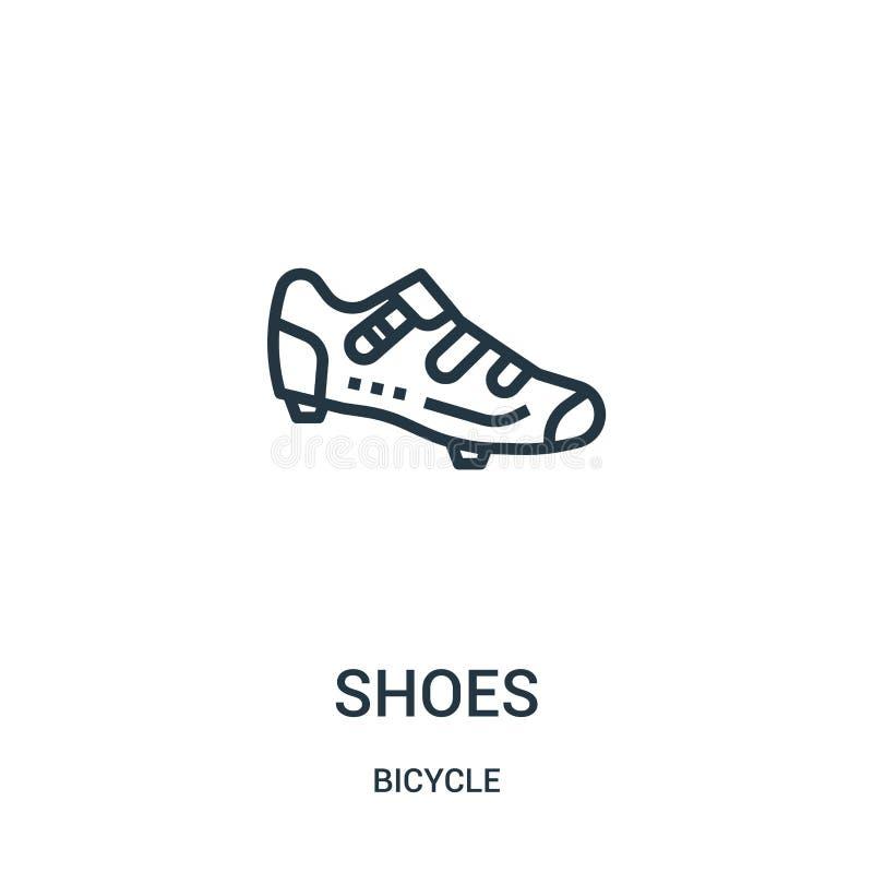 de vector van het schoenenpictogram van fietsinzameling De dunne van het het overzichtspictogram van lijnschoenen vectorillustrat royalty-vrije illustratie